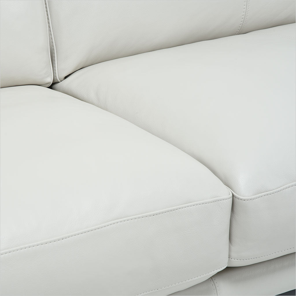 2-seat leather sofa with metal legs