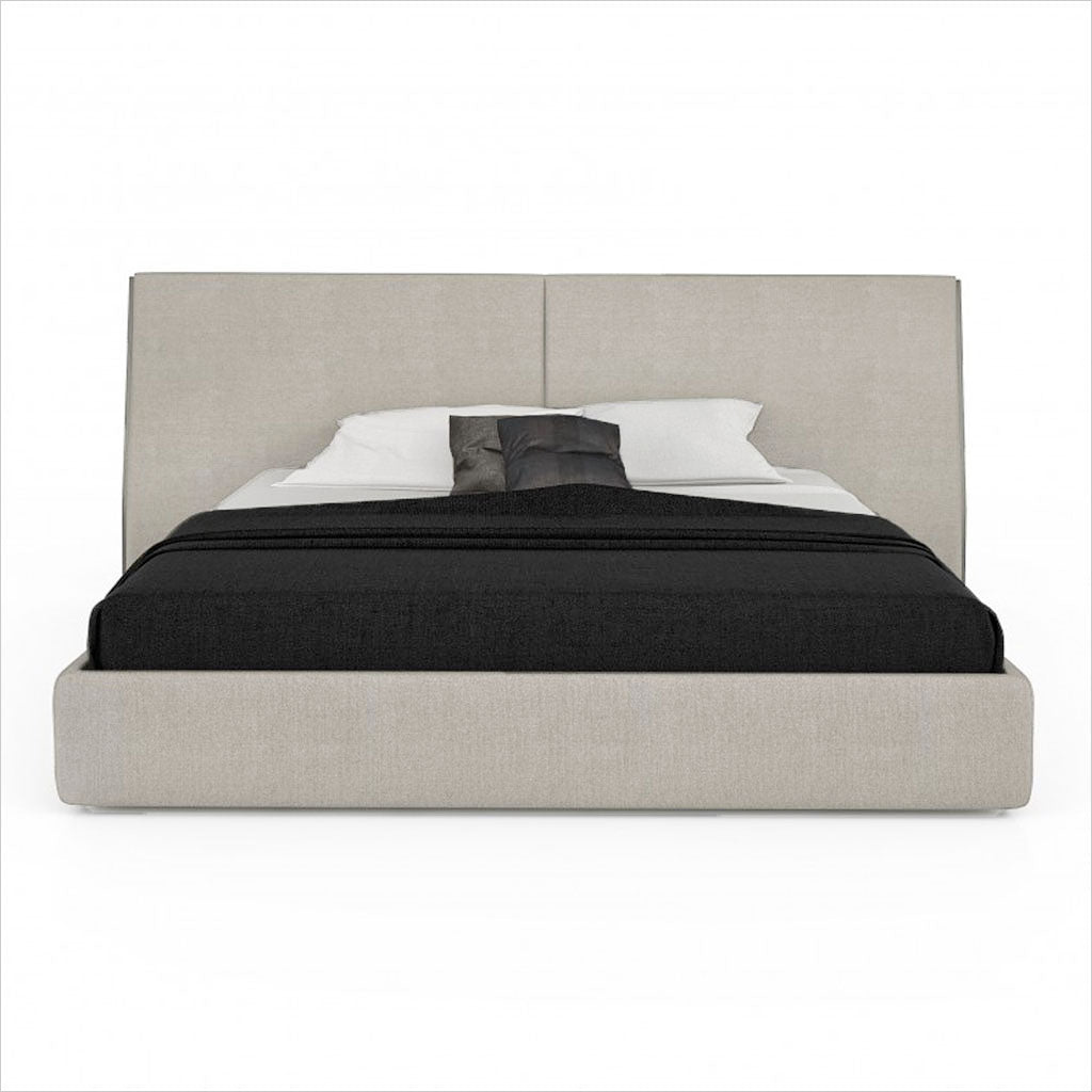 upholstered platform bed in fabric