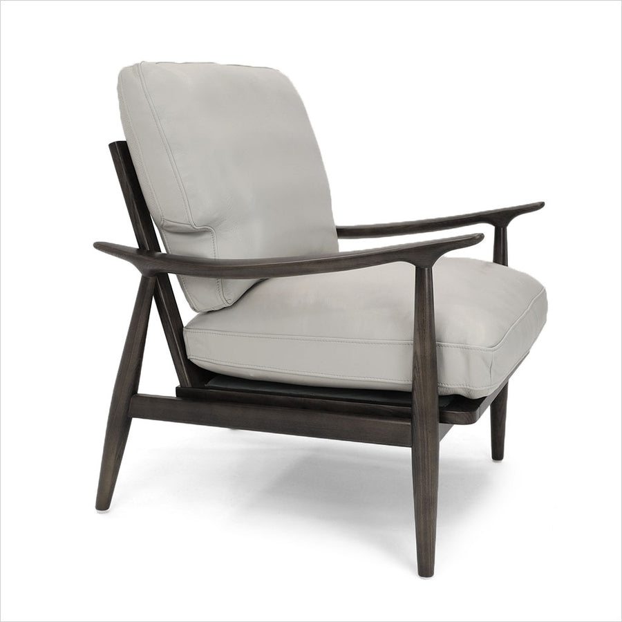 leather accent chair with wood frame