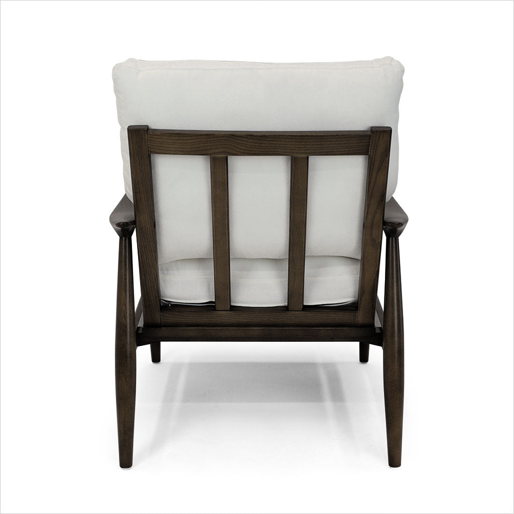 fabric accent chair with wood frame