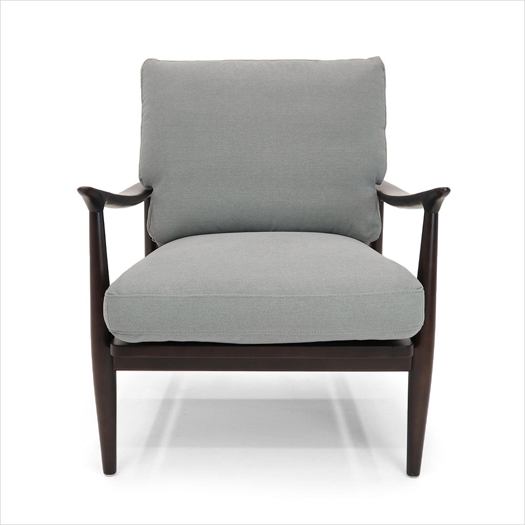 accent chair with grey fabric cushions