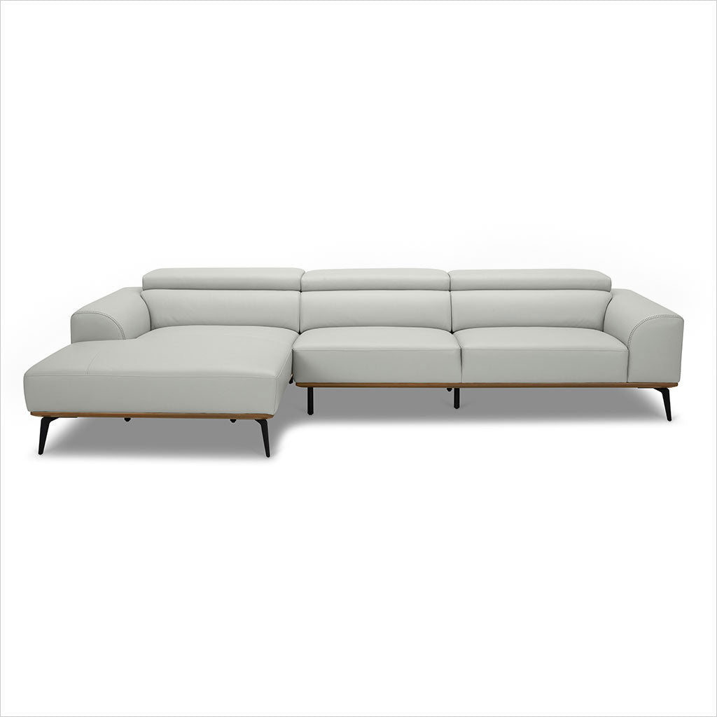 light grey leather sectional