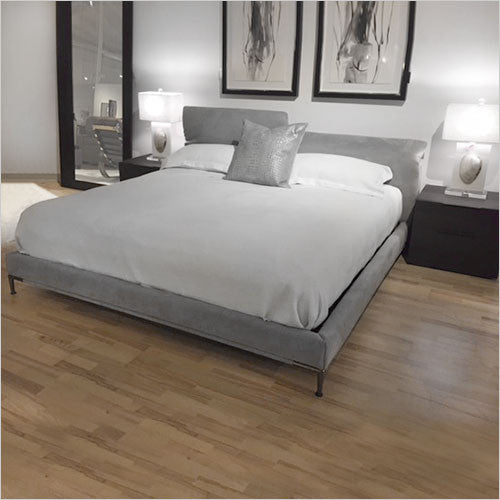 upholstered platform bed with ratchet headrests