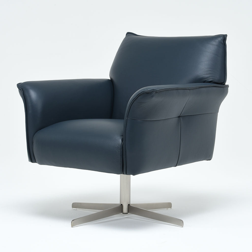 swivel armchair in leather
