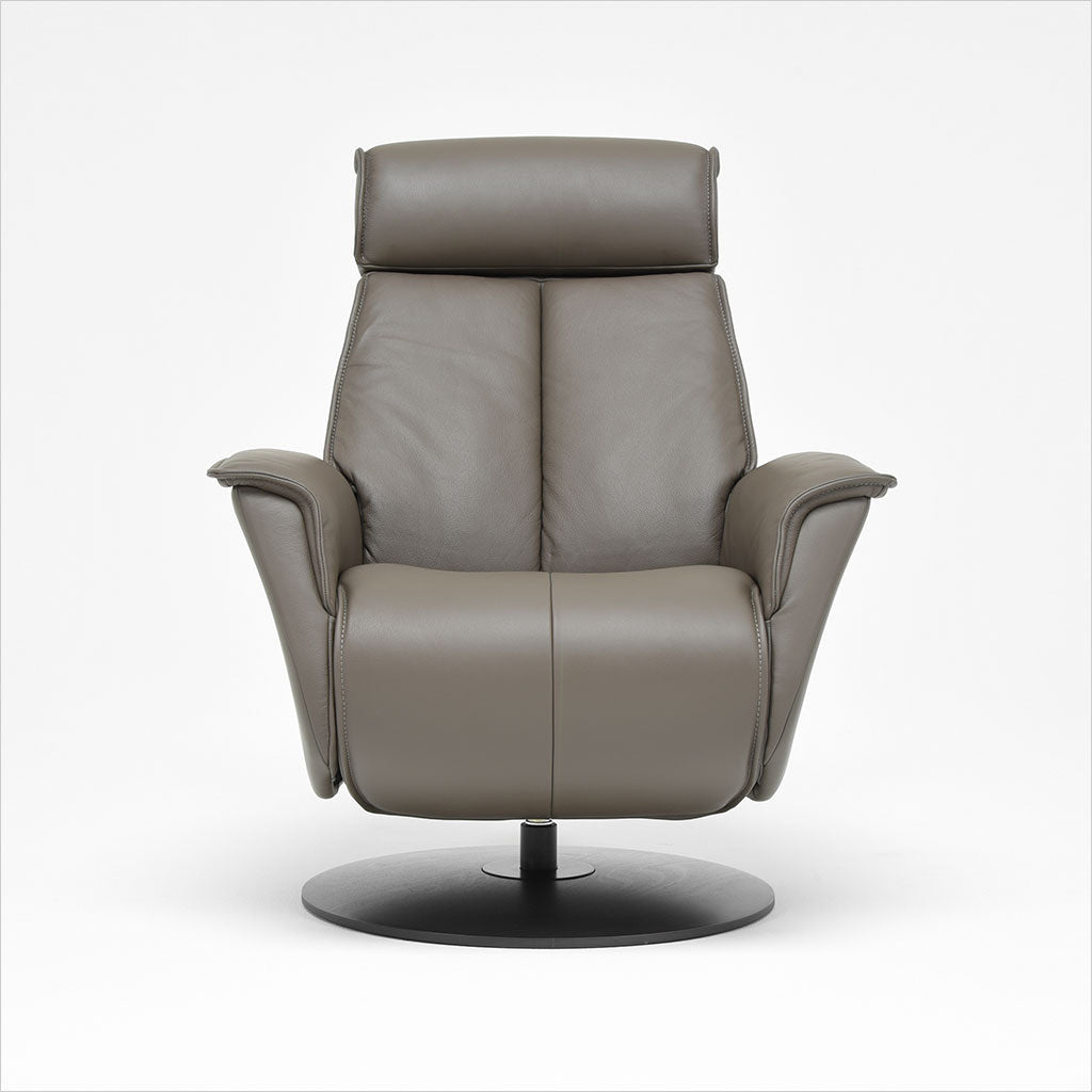 brown leather recliner with charcoal wood base