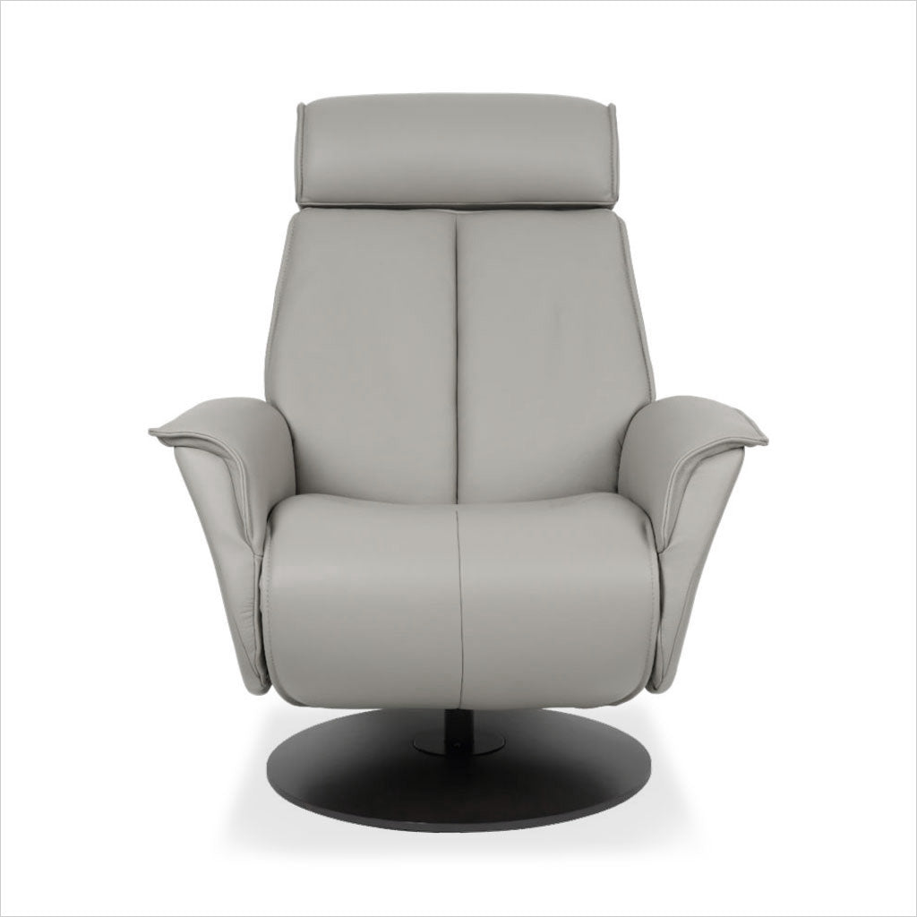 grey leather recliner with charcoal wood base