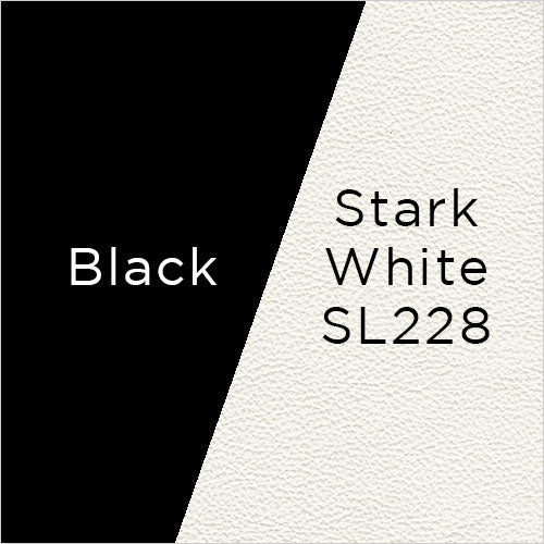 stark white leather and black stained wood swatch