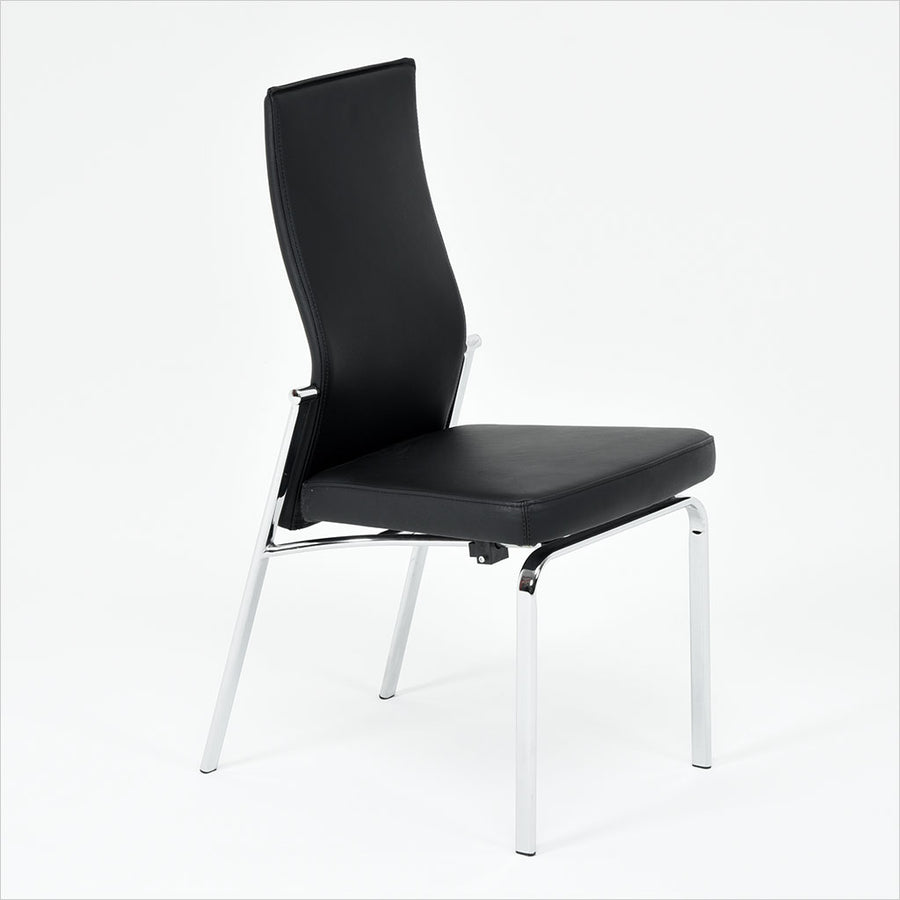leather upholstered dining chair with reclining seat