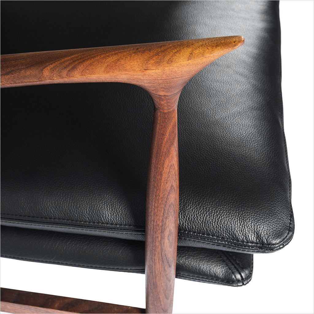 walnut accent chair with leather seat and back