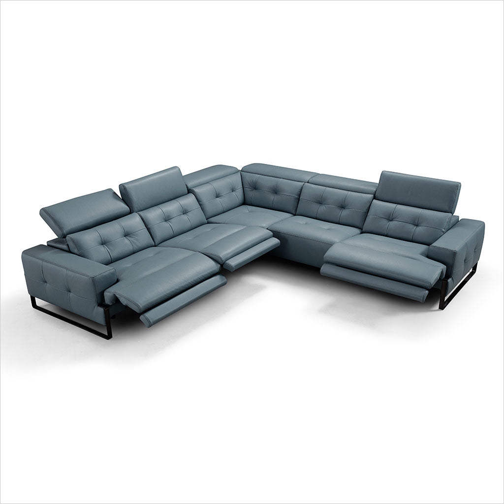 slate blue leather sectional