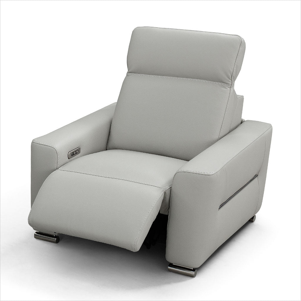 grey leather recliner chair