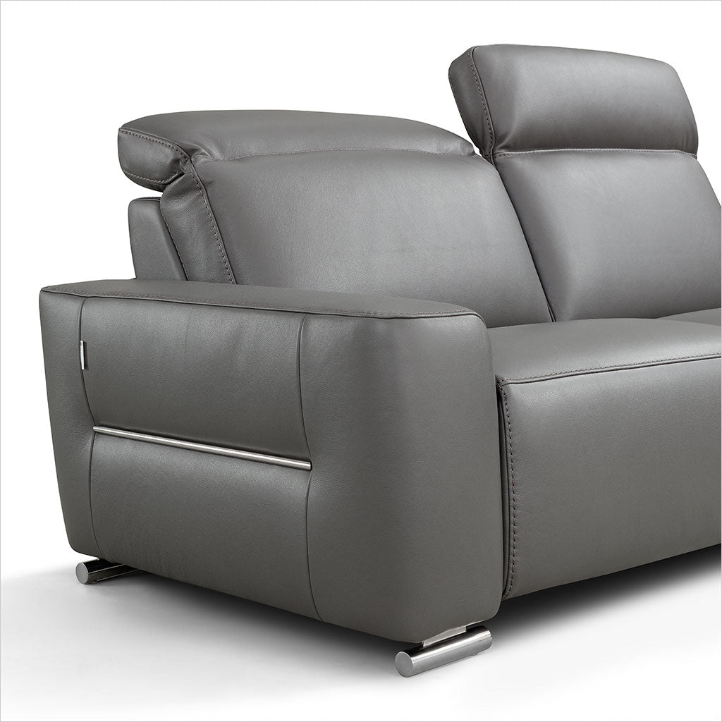 grey leather recliner sofa