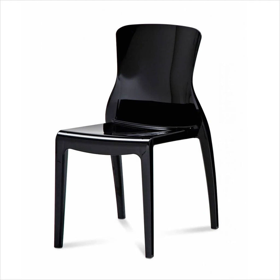 black poly-carbonate dining chair