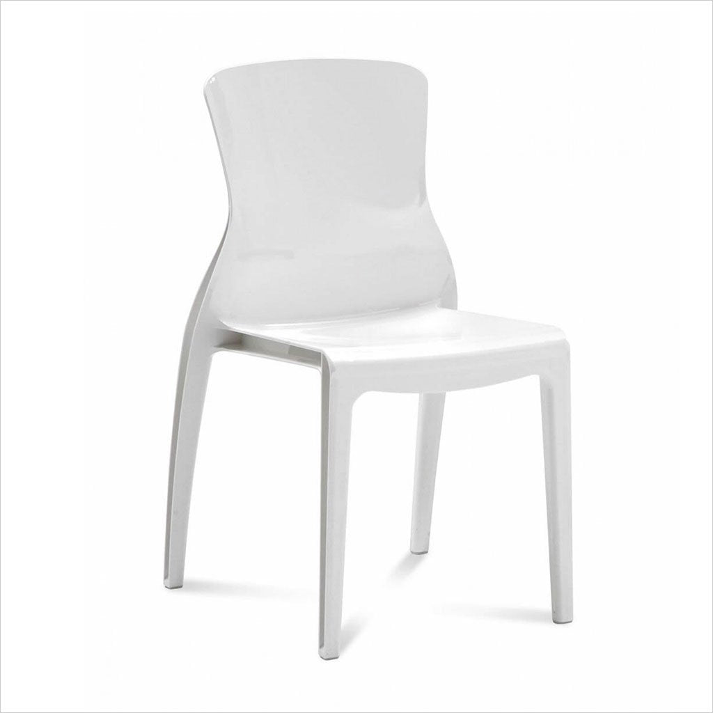 white polycarbonate dining chair