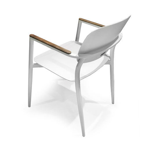 white powder-coated aluminum chair for outdoor