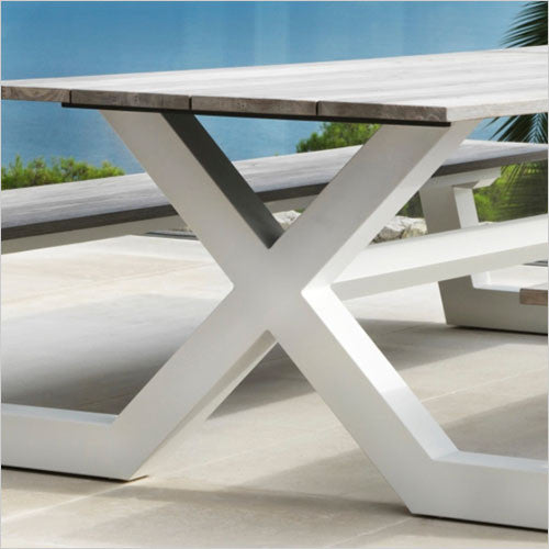 white picnic table with teak wood