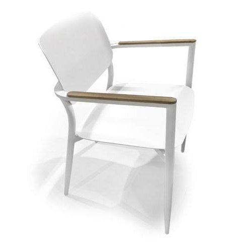 white powder-coated aluminum chair with teak arm rests for outdoor