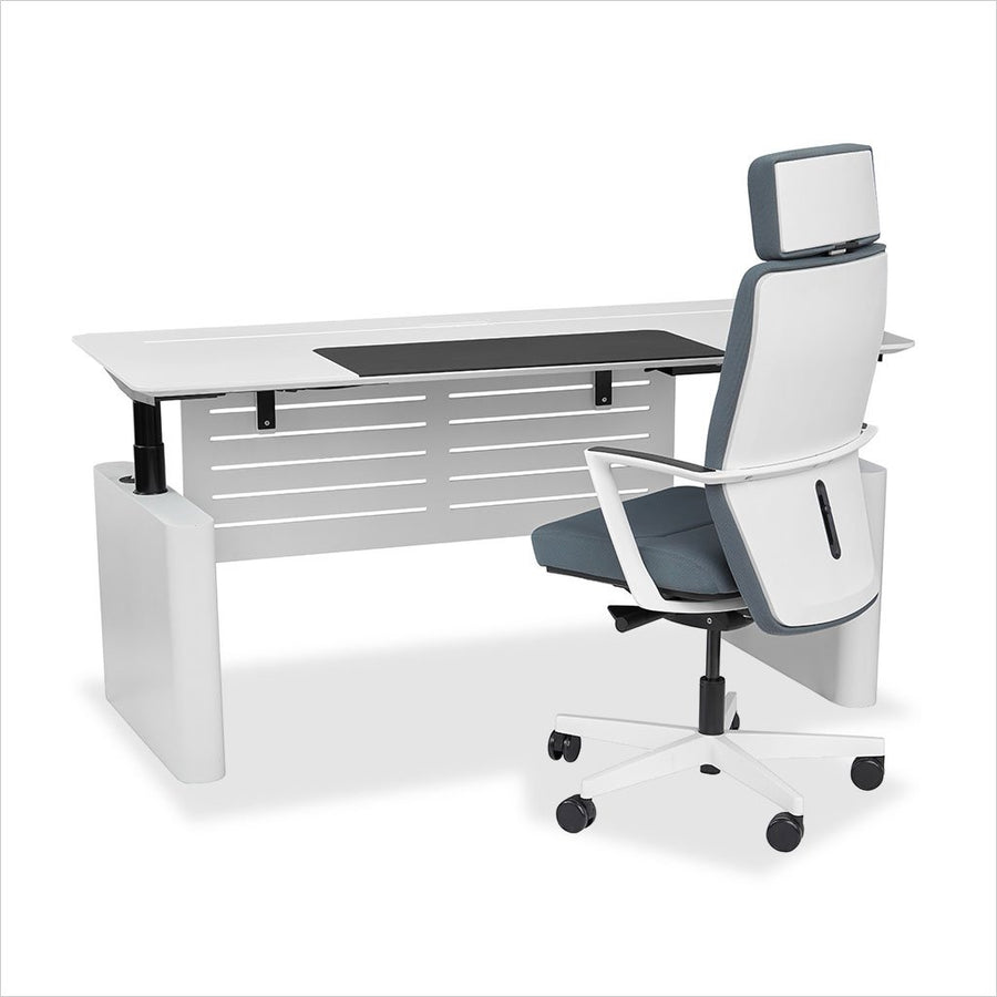 sit stand desk in white with black frame