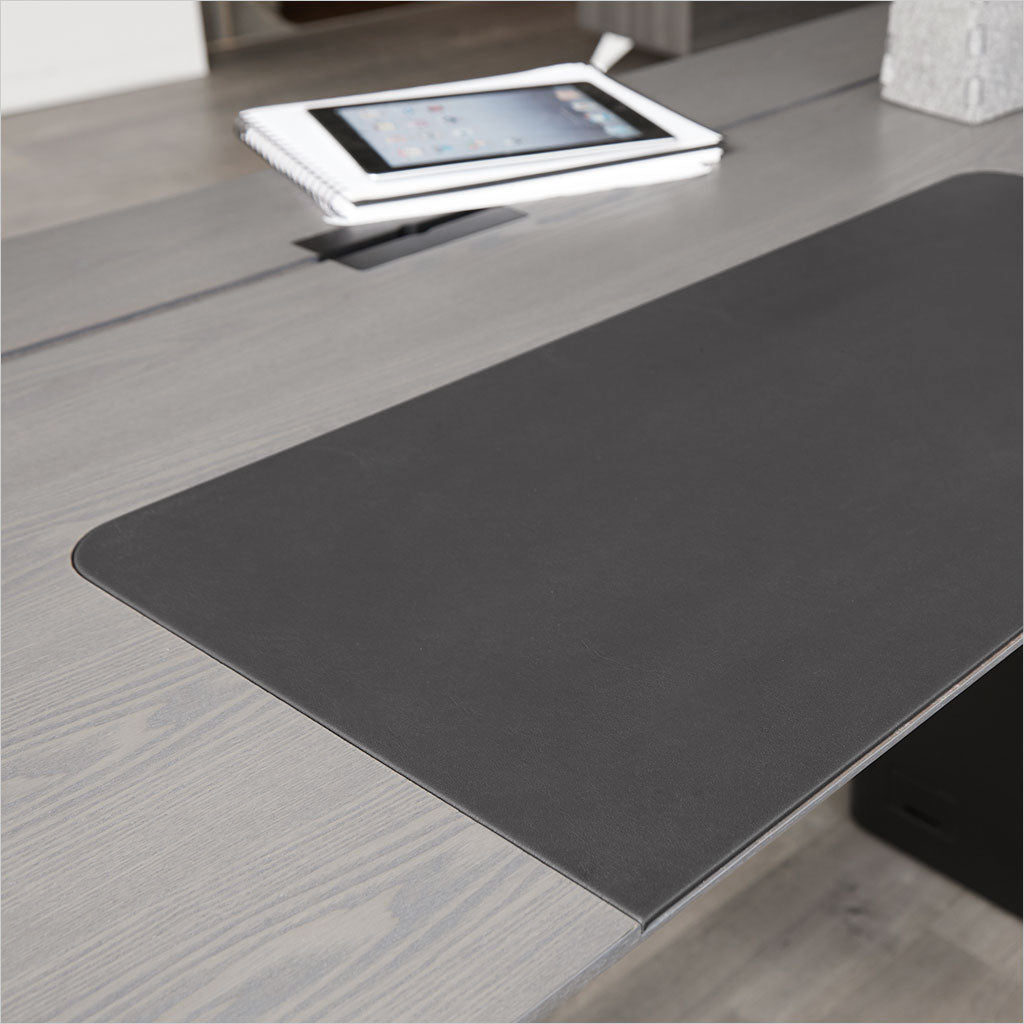 sit stand desk in grey with black frame