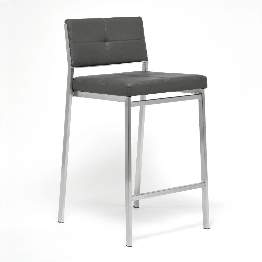 barstool with leather seating and metal frame
