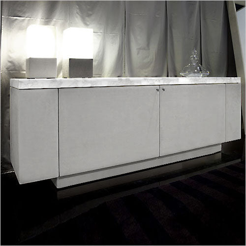 leather buffet with marble top