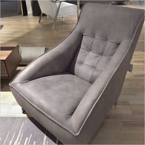 tufted nubuck leather accent chair with metal legs