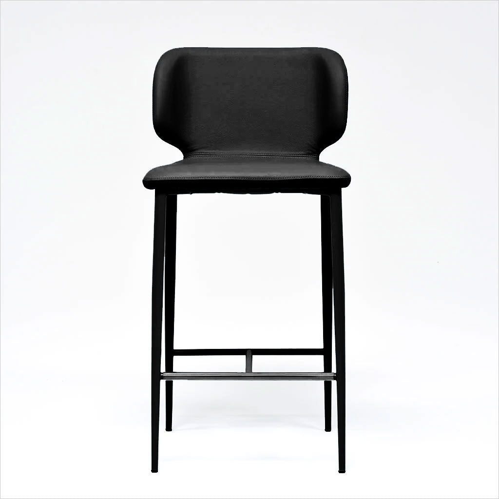 counter stool upholstered in a leather and fabric combination