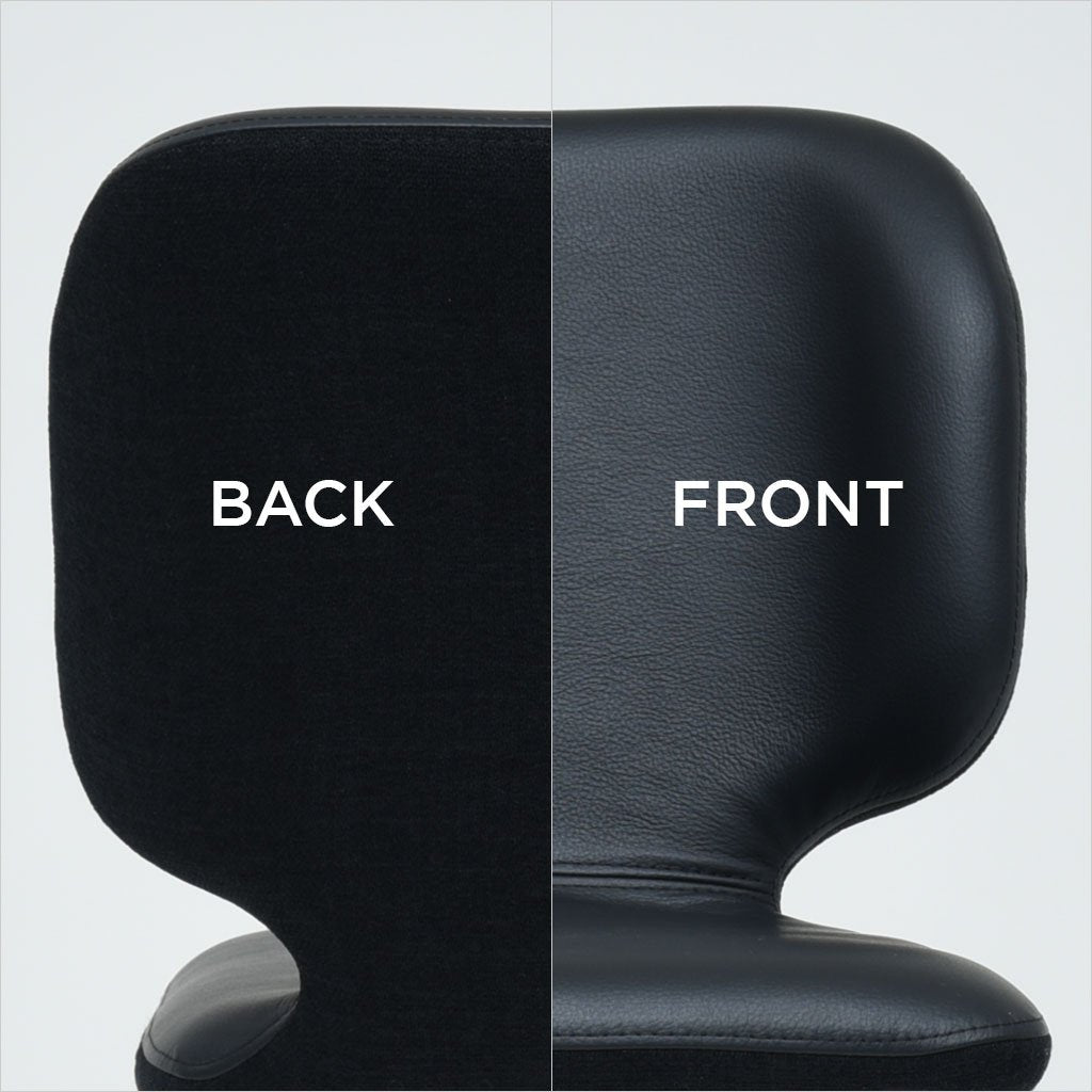 close-up back and front view of counter stool in black combinations