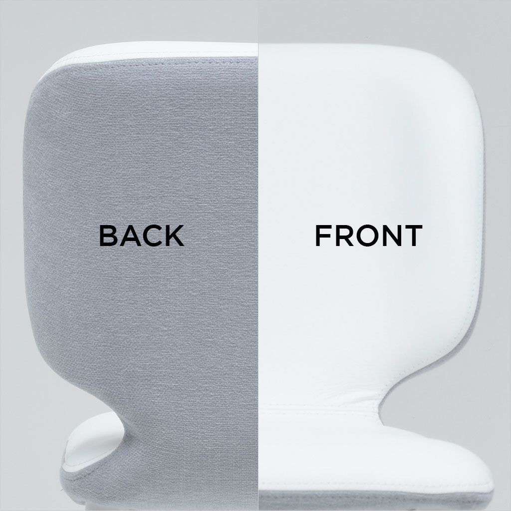 close-up back and front view of seat in white combinations