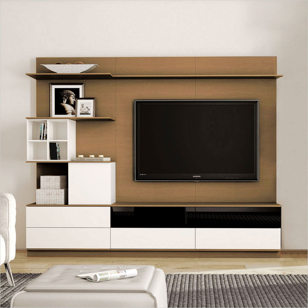 wall unit with shelves and drawers in walnut and white
