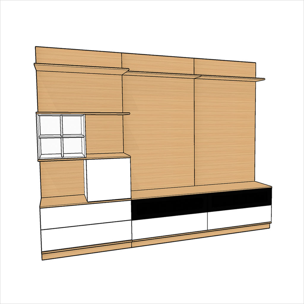 schematic of wall unit with shelves and drawers in walnut and white