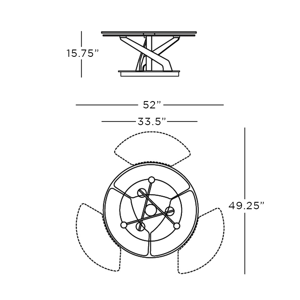 schematic of round coffee table with synchronized swivel tops