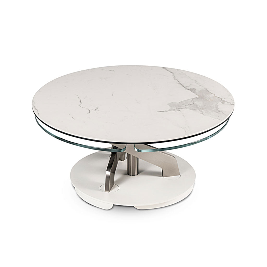 round coffee table with synchronized swivel tops