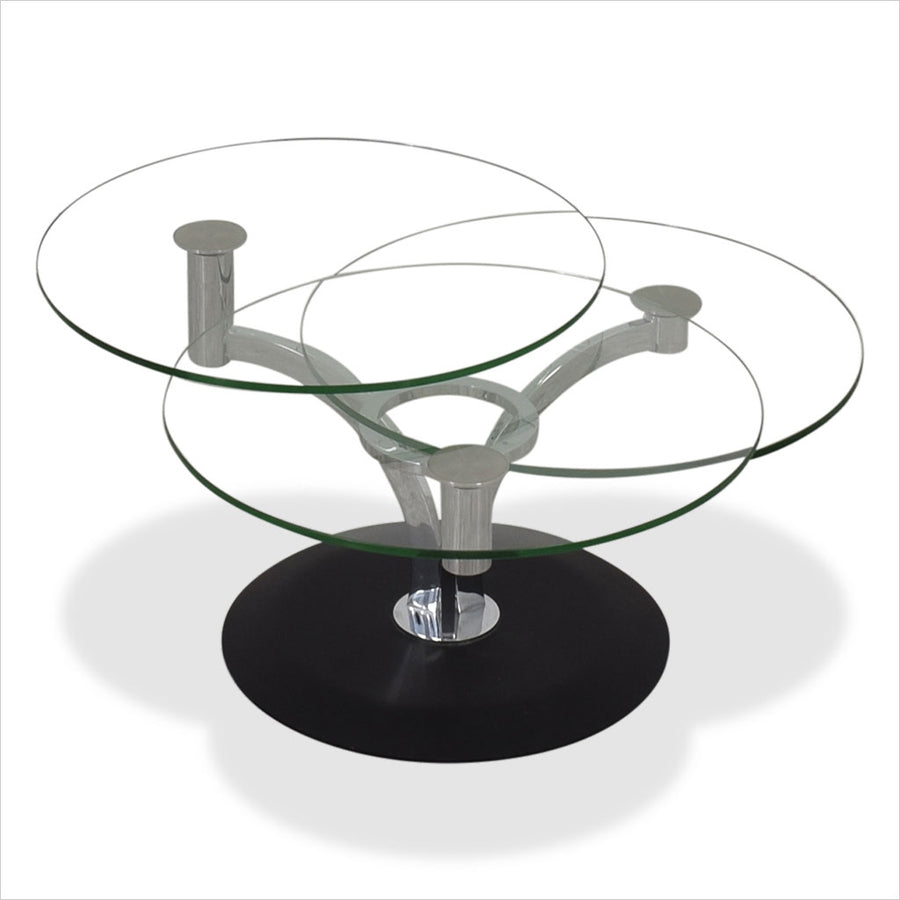 coffee table with 3 rotating glass tops