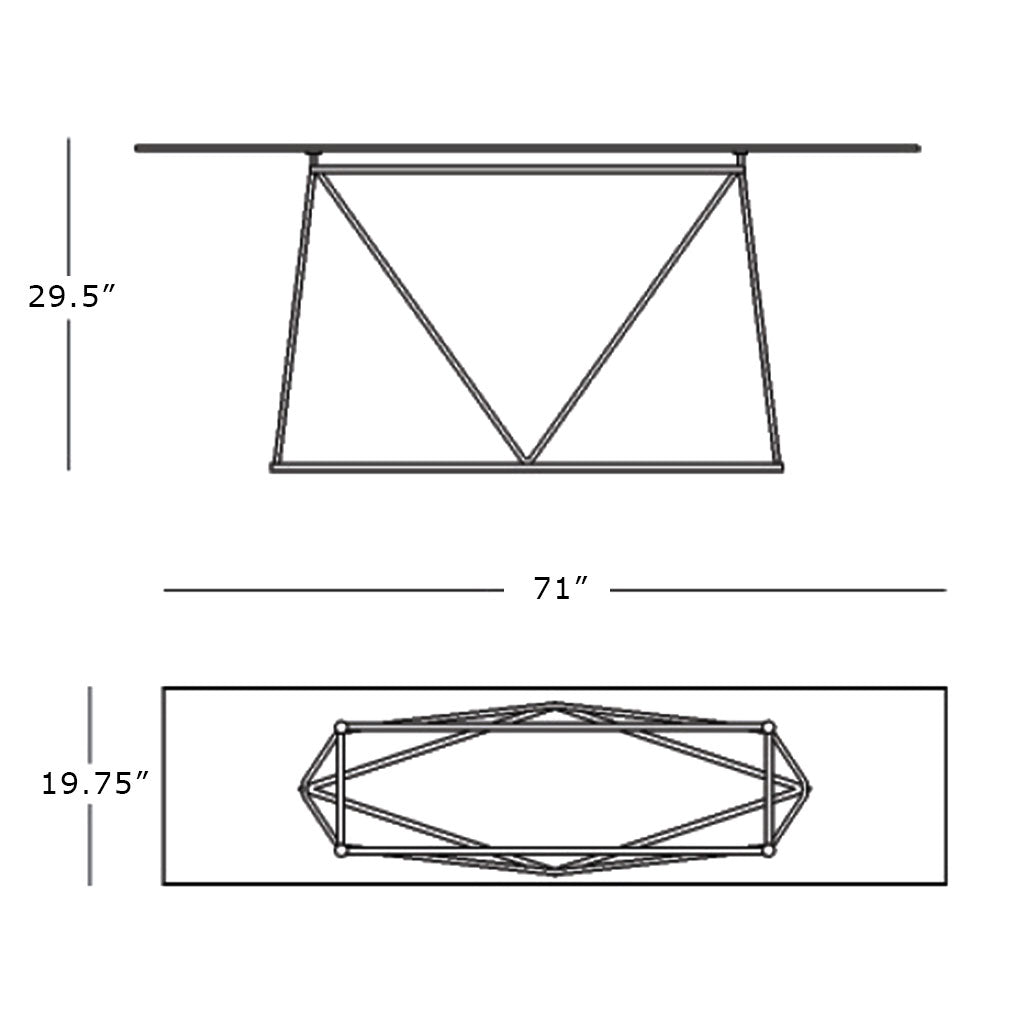 schematic of console table with ceramic top and metal base