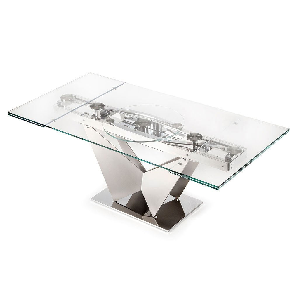 glass top dining table with extension leaves