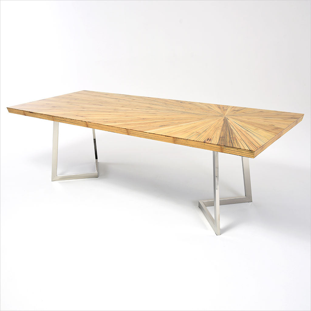 bamboo top dining table with metal legs