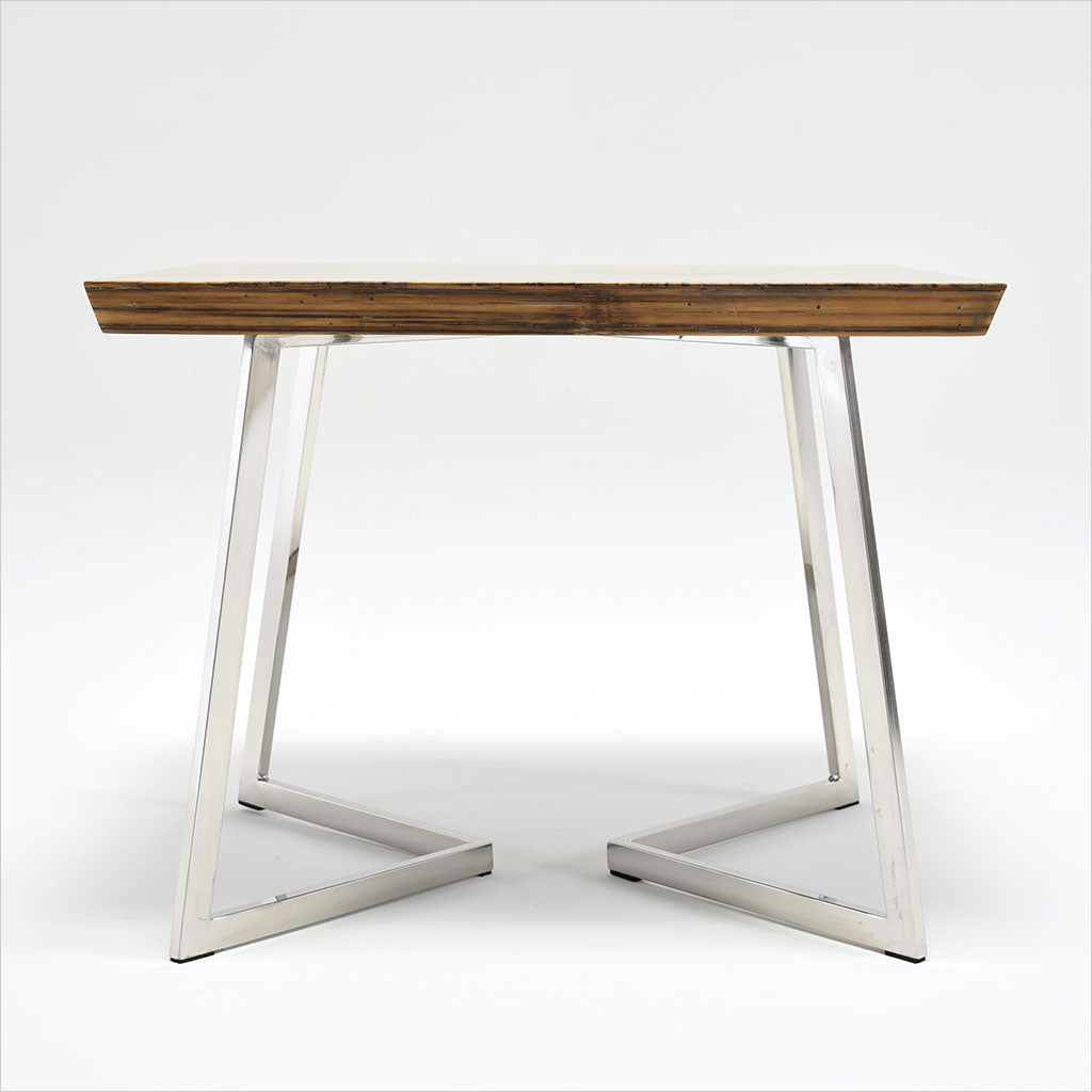 bamboo top end table with metal legs
