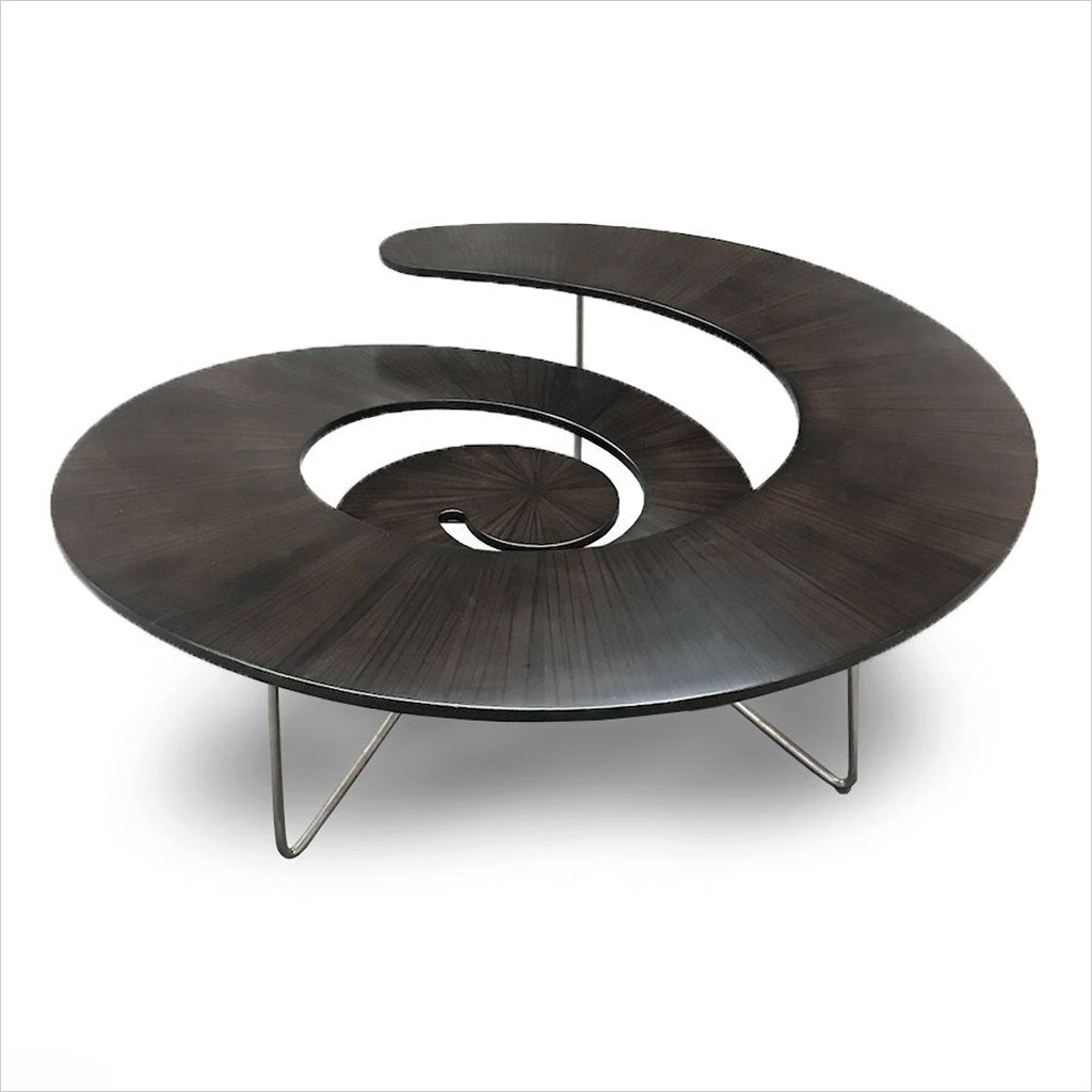spiral coffee table in bamboo