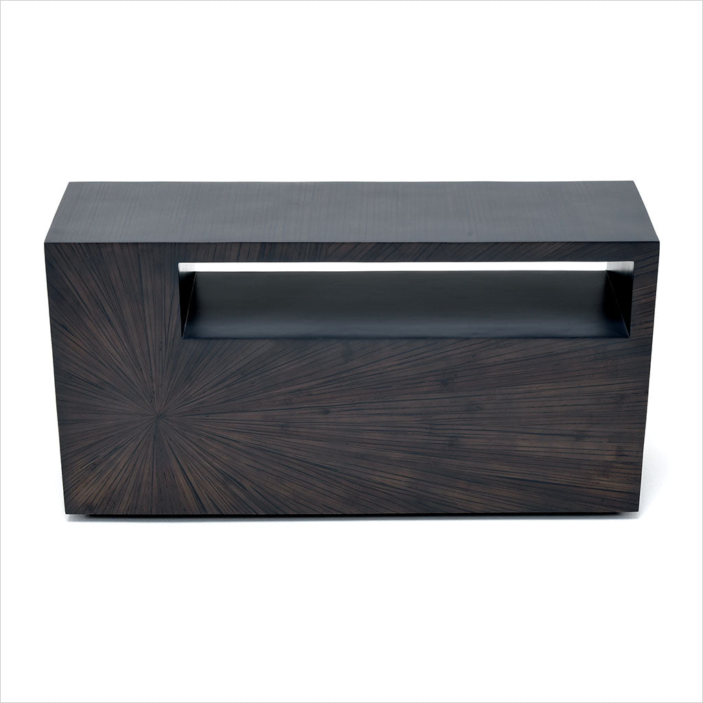 bamboo console table with shelf