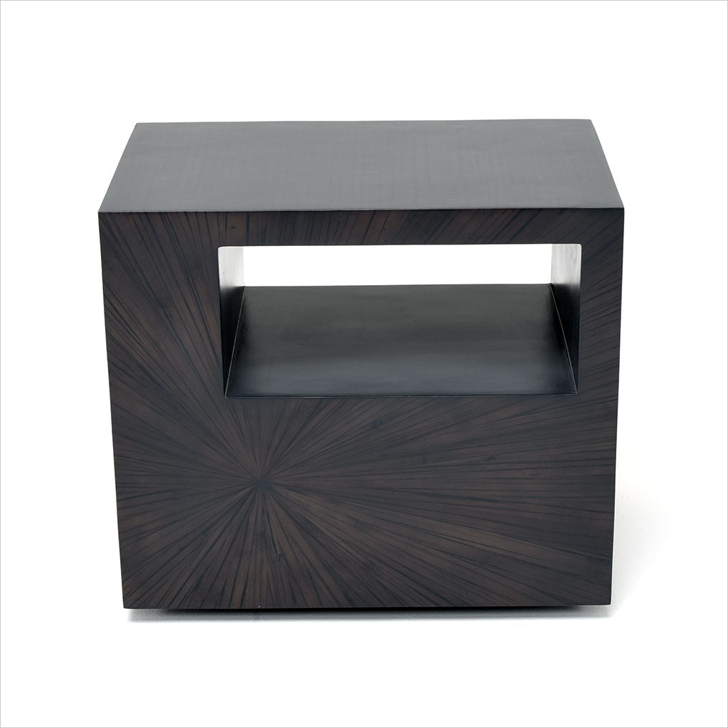 bamboo side table with shelf