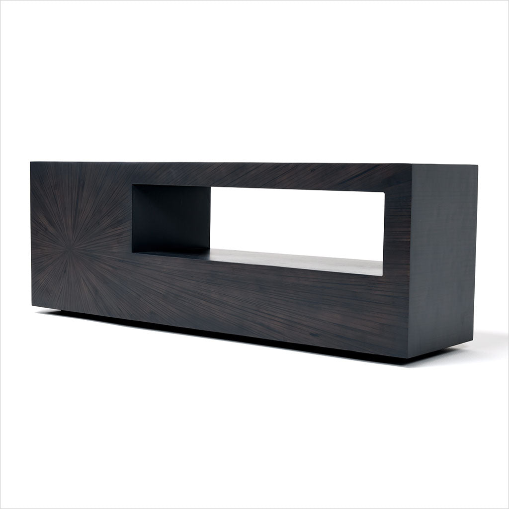 bamboo TV stand with shelf