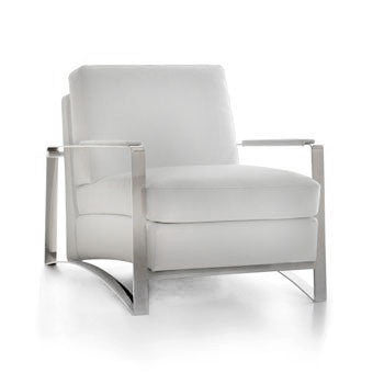 leather upholstered accent chair with metal frame