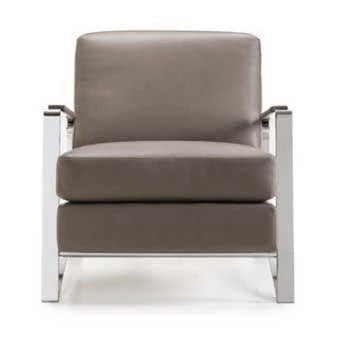 Norman accent chair in leather and polished metal