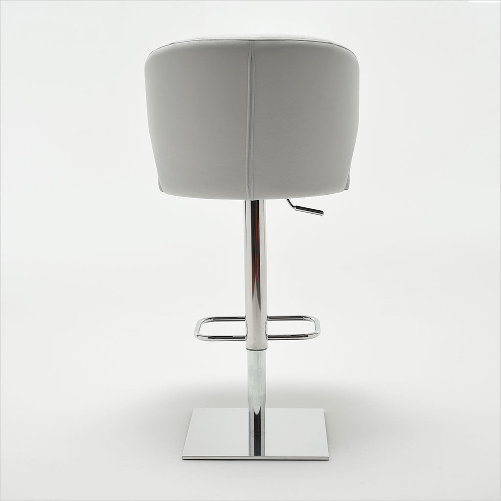 leather barstool with arms and metal pedestal base
