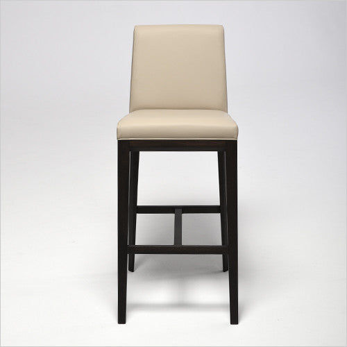 barstool with leather seating and wood frame
