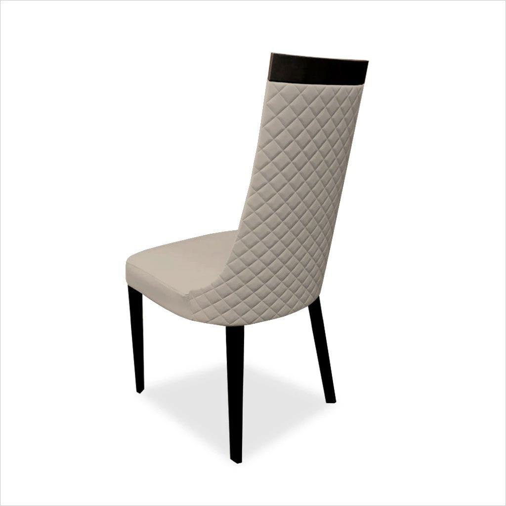 dining chair with quilted diamond pattern on back