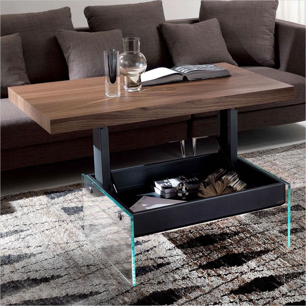 coffee table with adjustable top and storage