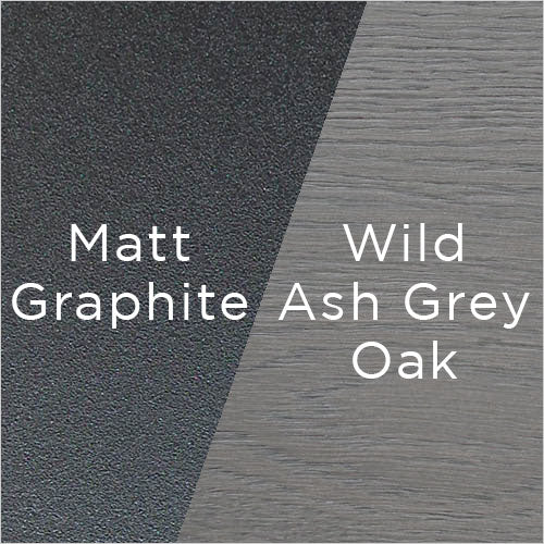 matt graphite powder-coating and wild ash grey oak wood swatch