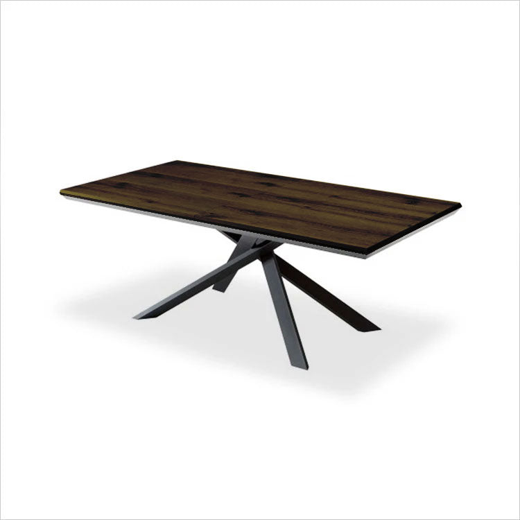 dining table with expandable wood top and metal legs